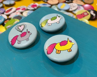 "1.25"" Button - Chubby Unicorns (pack of ten)"