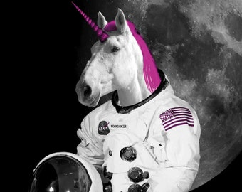 Unicorn Art Print: Geekery Print, Funny Office Art, Roller Skating Unicorn, Moon Landing, Fantasy Art Print