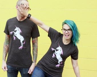 Roller Skating Unicorn Shirt - Crew Neck