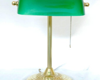 Vintage Brass Bankers Desk Lamp With Green Glass Shade
