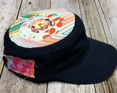 Women's Military Hat - Navy Cap with Floral Center on Multi Color Aztec