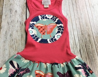Girl's Toddler Tank Dress - Coral Butterfly - Infant Baby Sun Dress