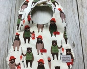 Baby Boy Bib in Bear Fish...