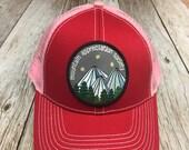Women's Trucker Hat - Mountain Appreciation Society Patch- Red Trucker-Grey Trucker