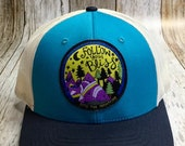Women's Trucker Hat - Follow your Bliss into the mountains Patch - Blue and Turquoise Trucker Hat- Cute Girly Trucker