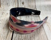 Reversible Fabric Covered Headband - Black Look Up to the Sky & Found Paths Rose