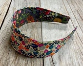 Reversible Fabric Covered Headband - Multicolors Tiny Flowers & Dark Green Floral