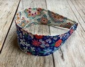Reversible Fabric Covered Headband - Colorful Blue Floral & Aquamarine Pink and Beige mandala shapes
