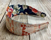 Reversible Fabric Covered Headband - Dark Green Floral & Multicolors Terracotta Rainbows shapes
