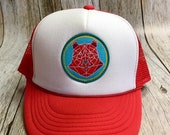 """Kids Youth/Toddler Trucker Hat - Red - with """"Geometric Bear"""" Patch - Toddler (12 Months- 7 years) Youth ( 2-12 years)"""