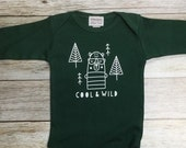 """Gender Neutral Baby Gift Baby Boy Bodysuit """"Cool and Wild"""" in Green Long Sleeve with Applique on back"""