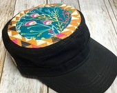 Women's Military Hat - Geometrical Mustard Background and Turquoise Floral Pattern - Cadet Hat in Black