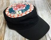 Women's Military Hat- Black - Geometrical Orange Background and Rose Pattern - Cadet Hat in Black