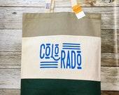 "Color Blocked Tote Bag - ""Colorado"" -hunter green, tan, and dark tan"