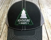 Women's Trucker Hat - Forest Green Adventure Awaits Patch - Black and Gray Trucker Hat