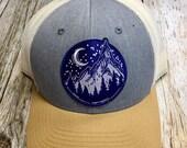 Women's Trucker Hat - Navy Mountain Patch - Tan and Grey Trucker Hat- Cute Girly Trucker