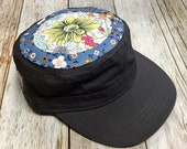 Women's Military Hat -Grey- Little Floral in Blue Background and Yellow flower appliqué - Cadet Hat in Charcoal