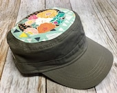 Women's Cadet Military Hat - Geometrical Mint Background and Earthy Floral Colors Pattern - Cadet Hat in Olive Green