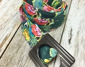 Women's Fabric Belt - Forest Green Watercolor Floral