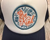 "Youth/Girls Navy and White Trucker Hat- with ""Be K..."