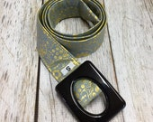 Women's Fabric Belt - Metallic Gold Flowers with Confederate Blue/Grey Background