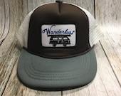 Toddler/Kids Trucker Hat- Wanderlust Patch -Brown/Gray /White Trucker