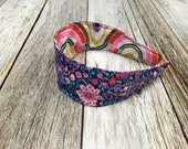 Reversible Fabric Covered Headband - Navy Pink Floral & Colorful Circular Print