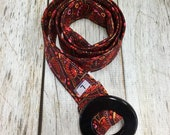 Women's Fabric Belt - Cardinal Bird Pattern with Red and Pink Flowers