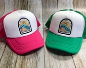 Toddler/Kids Boy and Girls Trucker Hat- Take Me To The Mountains Patch -Kelly Green/ White Trucker Cap - Hot Pink/ White Trucker Cap