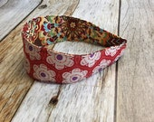 Reversible Fabric Covered Headband - Red Floral & Multi colored Floral