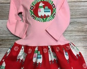 Girls Pink Llama Christmas Dress -Applique Holiday Dres...