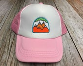 Girls Toddler/Kid Pink Trucker Hat with 5 Mountain Patc...