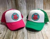 Toddler/Kids Boy and Girls Trucker Hat- Geometric Bear -Kelly Green/ White Trucker Cap - Hot Pink/ White Trucker Cap