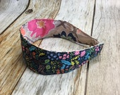 Reversible Fabric Covered Headband - Navy Floral & Colorful Grey Floral