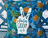 "Blue Floral 14"" Pillow : ""Feelin' Groovy"" with blue Denim backing."