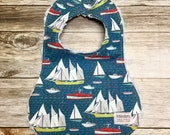 Boy's Baby Bib Nautical Themed Print in navy blue background - Baby Shower Gift - Baby Boy - Baby Accessories