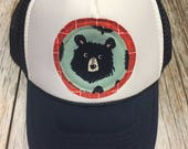 Boy/Girl Youth Trucker Hat with Bear Appliqué Patch-Fu...
