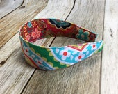 Reversible Fabric Covered Headband - Red Floral & Colorful Floral Print