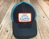 Women's Trucker Hat - Happy Camper Patch- Blue Trucker