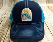 Women's Trucker Hat - Take Me To The Mountains Patch - Blue and Turquoise Trucker Hat- Cute Girly Trucker