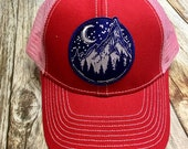 Women's Trucker Hat - Navy Mountain Patch - Red and Pink Trucker Hat- Cute Girly Trucker