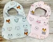 Baby Girl Bib or Baby Boy Bib in Woodland Creatures Fabric - Baby Shower Gift- Baby Bib - Baby Accessories