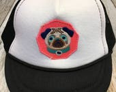 "Baby Girl's  Infant Trucker Hat with ""Pug&quot..."