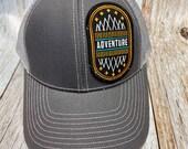 Women's Trucker Hat - Adventure Patch - Gray Trucker Hat