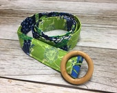 Women's Fabric Belt - Navy Blue and Lime Floral Pattern