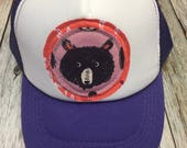 Toddler/Kid Trucker Hat with Bear Appliqué Patch-Fun K...