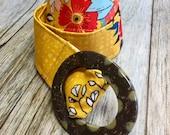 Women's Fabric Belt - Mustard Yellow Floral Pattern