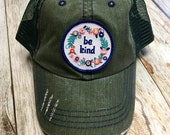 Women's Trucker Hat - Floral Be Kind Patch - Forest Green Baseball Hat