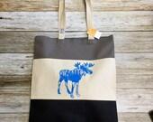 """Tri Colored Tote Bag - """"Moose"""" -black, grey, tan, and blue"""