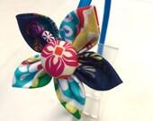 Flower Fabric Headband - Blue Headband with Navy, Blue & Yellow Flower